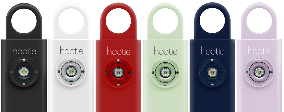 Hootie personal safety alarm comes in 5 distinct colors: black, white, red, mind, and navy